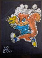 Foul mouthed squirrel by joshuadraws