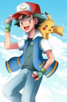 Ash and Pikachu by Bicoitor
