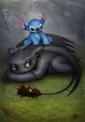 Toothless gets a back rub by Nszerdy