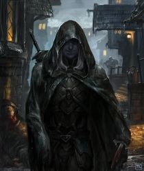 Drow in the rain by sagasketchbook
