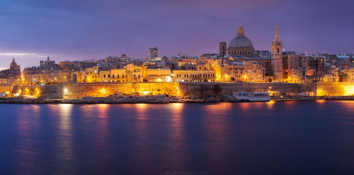 View of Valletta at night from Sliema, Malta by Sergey-Ryzhkov