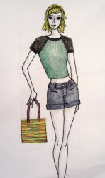 Yellow Square Bag Sketch by Criddlebee