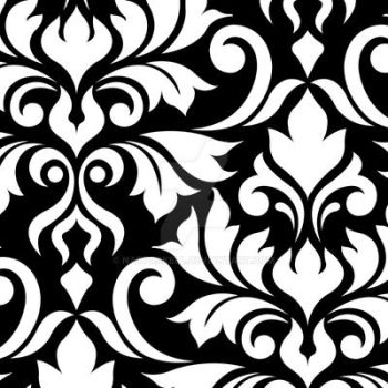 Flourish Damask Art I White on Black by NatPaskell