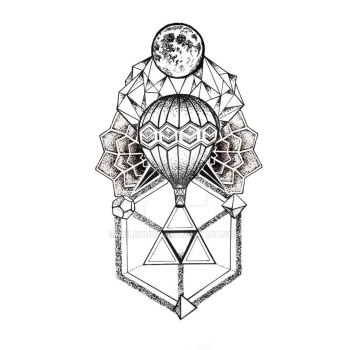 Hot air balloon tattoo design by Miletune