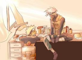 Naruto and Kakashi Studying by thiro