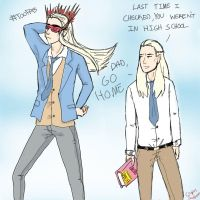 Modern Thranduil and Legolas by CapnSamm