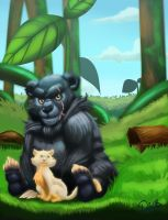 commision-Bear And Cat by Emerash