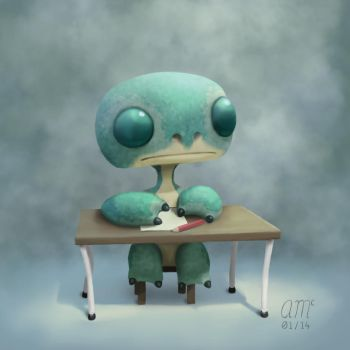 Hugo - Desk by AndrewMcIntoshArt