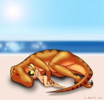 Utahraptor Sleepytime by penguin-commando