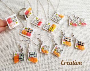 Miniature sushi jewelry collection by PetiteCreation
