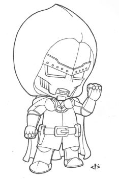 Little Doctor Doom (lines) by josh308
