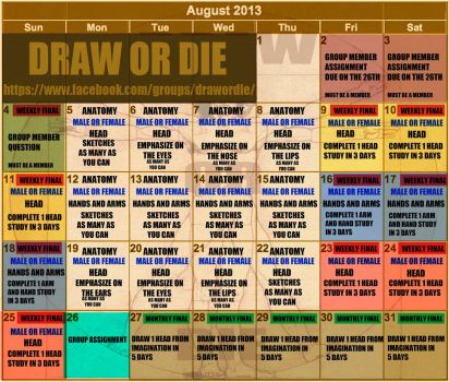 August DRAW OR DIE calendar by SPARATIK