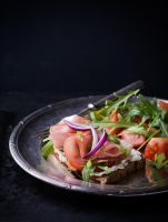 Sandwiches with ham, tomato and arugula by BeKaphoto