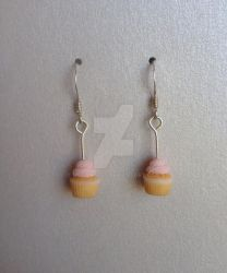 Polymer clay miniature cupcake earrings by MeganHess