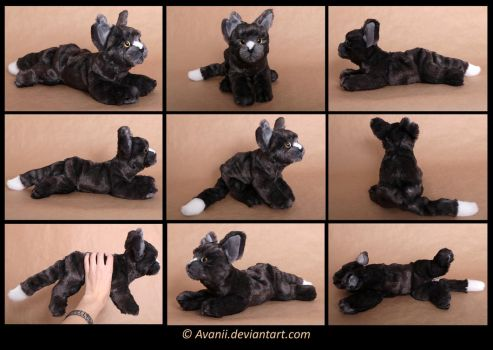 Plushie Commission: Ravenfell the Cat by Avanii