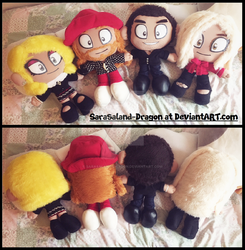 Gifts: Celebrity Juice cast plushies by Sarasaland-Dragon