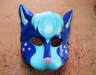 Custom OC mask - Lyra the Star Leopard by ShadowFoxLeatherwork