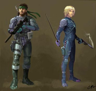 Solid Snake and Raiden by Vzamm