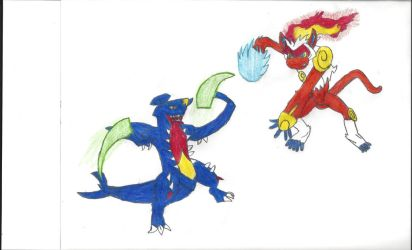 Mega Garchomp vs Infernape by robotman25
