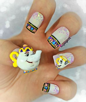 Mrs Potts and Chip - Beauty and the Beast Nail Art by KayleighOC