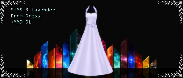 SIMS 3 Lavender prom dress mmd DL by xXMMDStoreXx