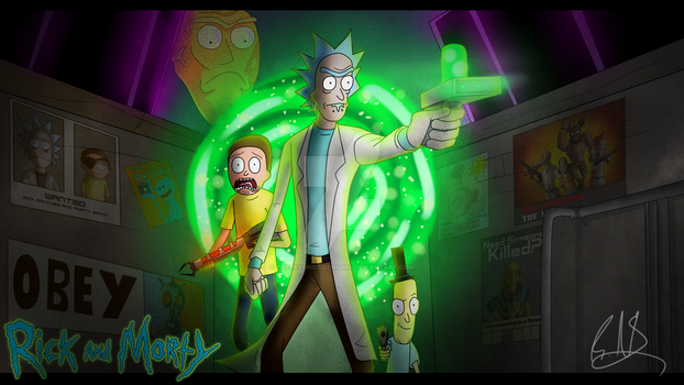 Rick and Morty Poster - Speedpaint in Description by ThePsychoticEnigma