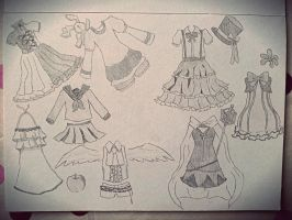 Kagamine Rin's Outfit Collection Part 1 by SaffronArc