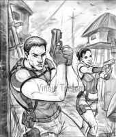 The sketch of my RE5 piece by VinRoc