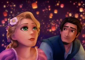 Tangled - Flynn and Rapunzel by MaruExposito