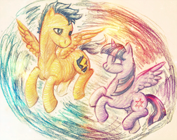 MLPFiM: Twilight Sparkle and Flash Sentry by eagleskyflyer