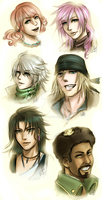 FFXIII: sketches main chara by DarkLitria