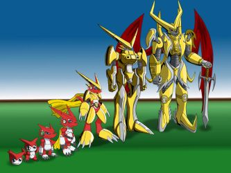 Shoutmon Evolution line by Miracle-Fox