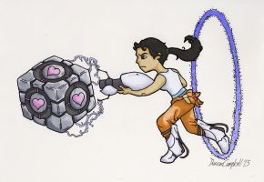 Chell and Cube by duncan-campbell