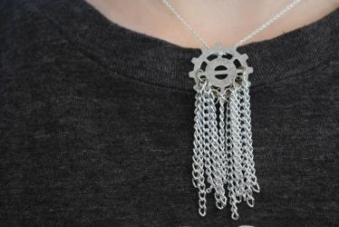 Silver Steampunk Metal Chain Tassel Necklace by Gossamier