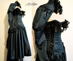 Dress steampunk fashion show bleu canard by myoppa-creation