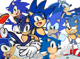 Sonic the hedgehog of many faces by thekingdog