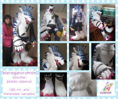 Giant Weregarurumon digimon plushie by chocoloverx3