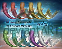 Mermaids Stocks PSD-PNG by MLauviah