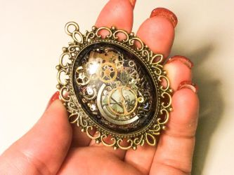 Steampunk Pendant Brass Filigree accent by jewelryfx