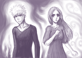 Ichigo + Orihime Sketchiness by summer-daze