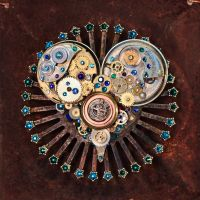 Teal Heart - Upcycled Antique Watch Gears by docjen