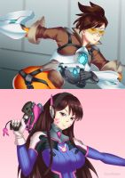 Tracer and D.Va by HaryuDanto