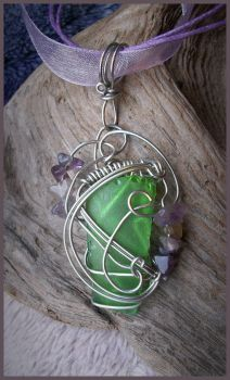 Simple Sea Glass and Amethyst Pendant by balthasarcraft