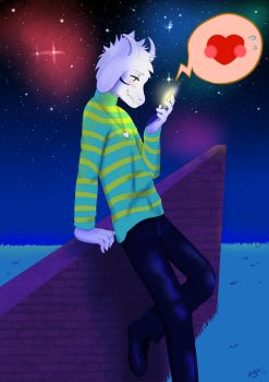 Undertale Asriel Waiting For Bae by vanillaxbiscuit