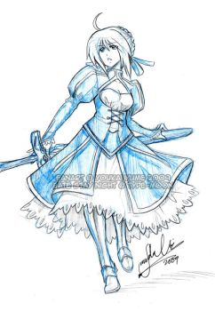 Fate Stay Night - Saber Sketch by YoukaiYume