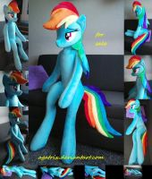 Life size (sitting/laying down) Rainbow Dash plush by agatrix