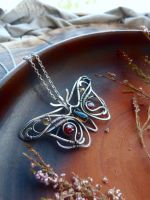 Multi-stone silver pendant Butterfly by UrsulaJewelry