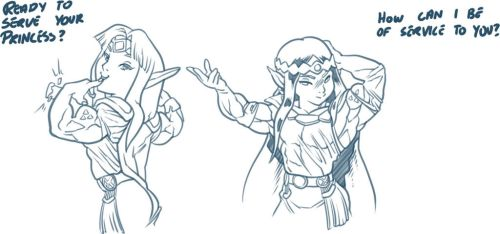 Sketch: High and Low maintainance Zelda and Hilda by RedSilverArtist