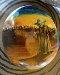 Yoda painted rock by ahembe