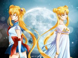 Sailor Moon and Serenity by HaloBlaBla